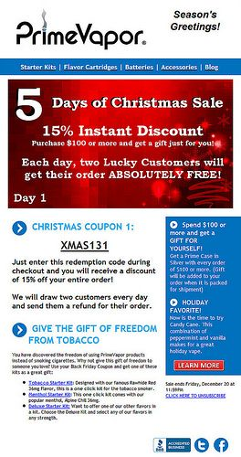 Give the gift of freedom from tobacco with electronic cigarettes from PrimeVapor   Try our latest e-cig models and e-liquid flavors at www.e-cigarilicious.com
