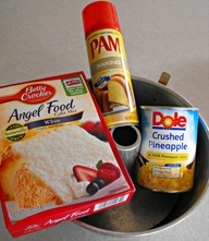 Take a box of Angel Food Cake mix and combine it with a 20 ounce can of crushed pineapple in its own juice. When you do this, something magical happens. The mixture starts to froth and it turns into an amazingly airy, fluffy bowl of deliciousness right before your eyes. Once its all mixed up, simply pour it into a 9 x 13 baking dish and bake it at 350 degrees for 30 minutes.