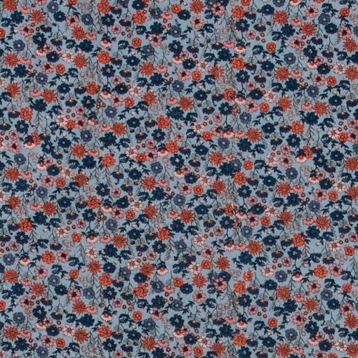 Woven cotton dusty blue with small flowers fabric for DIY purposes  - Stoff & Stil