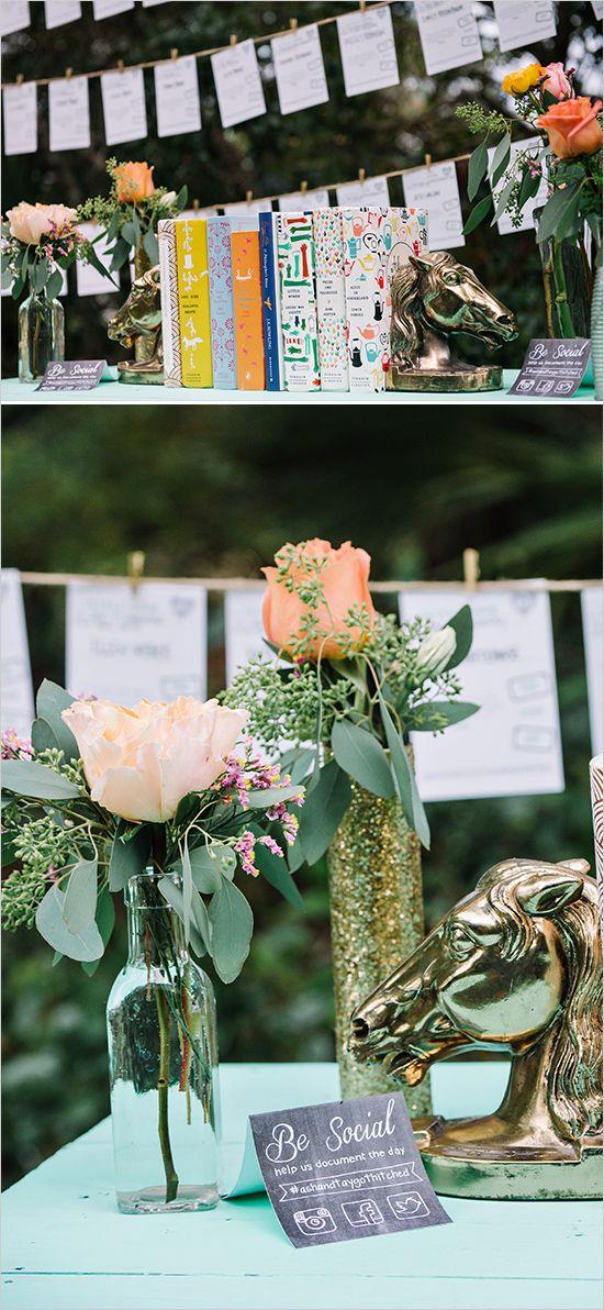 """""""Be social"""" signs at wedding reception"""