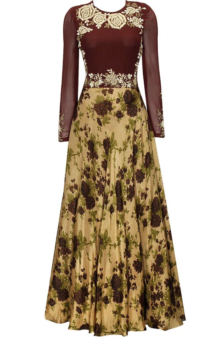 Earthy gold and maroon square embroidered anarkali set by Bhumika Shrma. Shop at: http://www.perniaspopupshop.com/designers/bhumika-sharma #anarkali #bhumikasharma #shopnow #perniaspopupshop