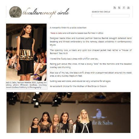 Thanks Jo Bayley for your great coverage of our show at Fashion Palette and comparing us to the House of Balmain. We are so humbled...
