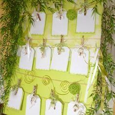 Plan de table vert anis et blanc  pour ceremonie decor-en-fete