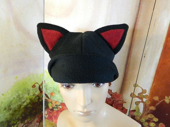 Cat Cap black red Gothic Anime Kawaii Punk Rock Costume Beanie