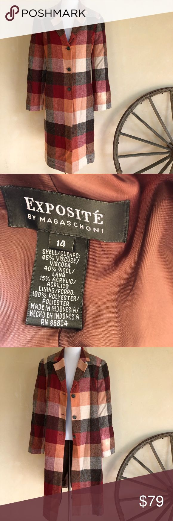 """EXPOSITE' BY Magaschoni Wool Blend Long Coat NWOT EXPOSITE' BY Magaschoni Wool Blend Herringbone Color Blocked Lined Coat. Woman's Sz 14. NEW WITHOUT TAGS. Measurements: Across shoulders: 16.5"""" Armpit to armpit: 23"""" Sleeve length: 25"""" Total length: 41"""" NEW WITHOUT TAGS as the weather is to warm here in SoCal for this coat. I️ purchased but never wore. From a Smoke Free home. Please see pictures. Exposite by Magaschoni Jackets & Coats Trench Coats"""