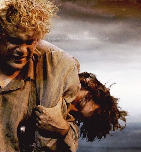 """""""I can't recall the taste of food... nor the sound of water or touch of grass... I'm naked in the dark, with nothing. No veil between me and the ring of fire. I can see him with my waking eyes!""""  """"Then let us be rid of it, once and for all! Come on, Mr. Frodo. I can't carry it for you, but I can carry you!""""  Frodo & Sam"""