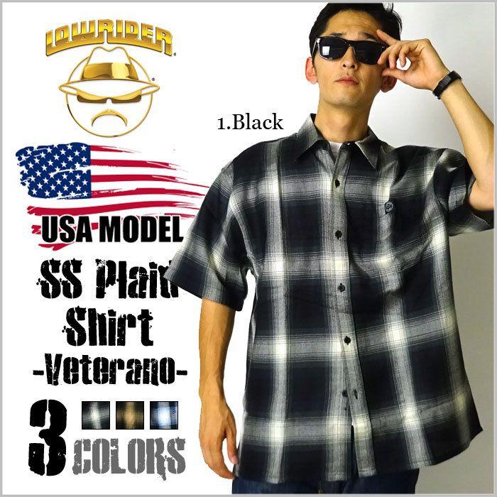 ローライダーLowriderSSチェックシャツ-Veterano-LRWS1全3色タトゥーチカーノギャングダンスストリートスケーターローライダーホットロッド大きいサイズメンズシャツMLLL2L3L4LXL2XL3XL