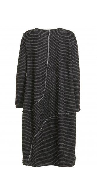 Okishi Raw Edge Black Stripe Dress from idaretobe Official UK Stockist