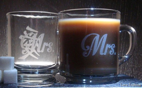 Mrs. & Mrs.  Love kanji  Etched Glass Coffee Mugs  by LoveEtching, $45.00