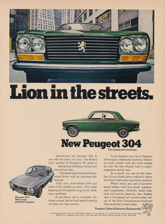 1970 Peugeot 304 Car Vintage Advertisement Lion in the Streets Green Automotive Print Ad Garage Wall Art Decor Gift for Him by AdVintageCom on Etsy