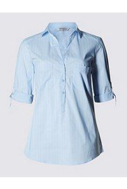 3/4 Sleeve Popover Striped Shirt, CHAMBRAY MIX