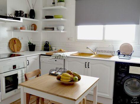 Reforma de mi cocina sin obras. Antes y después de mi cocina. Muebles pintados, mármol pintado. Pintura de pizarra en lavadora. #beforeafter #kitchen