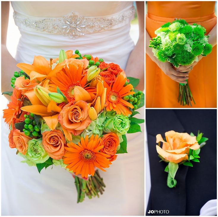 Bridal Bouquet And Orange Rose Boutonniere With Green Hypericum Berries Different Bridesmaids Bouquets