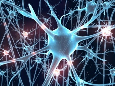 A microscopic view of neurons and their processes. Blue. Red light glow impulse. Dark background. http://3dstockimage.com/stock-photo/neurons-blues-with-red-impluse-light-7594.html