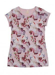 WILD WILD shirt rose met vogel en Pioen rozen