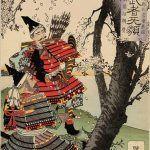 Saito Musashibo Benkei -- Minamoto no Yoshitsune und Benkei, Darstellung von Yoshitoshi
