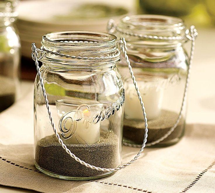 Cute idea for the summer: Sands, Idea, Candles Holders, Teas Lights, Mason Jars Lanterns, Minis Mason Jars, Hanging Mason Jars, Mason Jars Candles, Pottery Barns