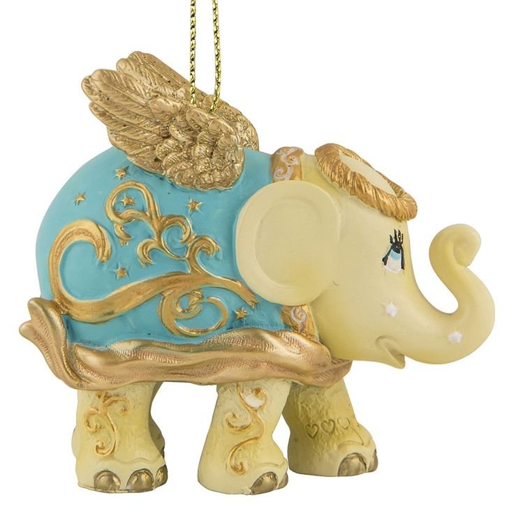 Christmas elephant for hanging, Golden Angel