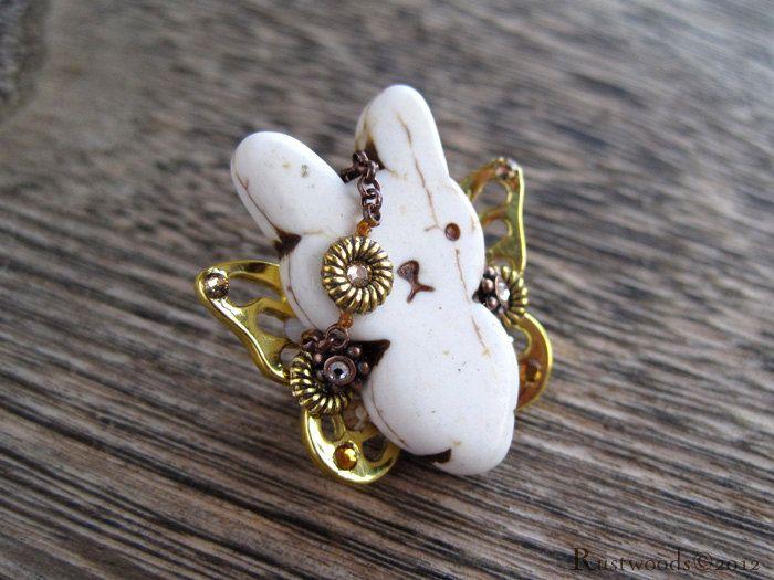 Steampunk Pirate Ivory & Gold Bunnyfly Brooch (b007). $15.00, via Etsy.