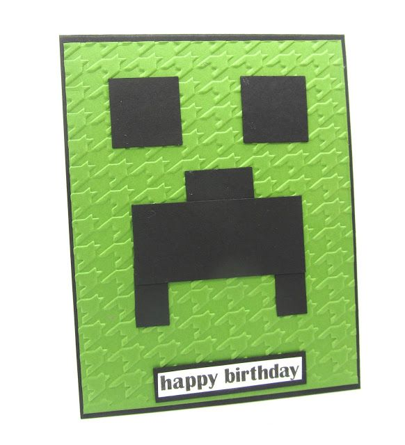 """A MineCraft Card using the 1"""" Square Punch and the Houndstooth from Stampin' Up!"""