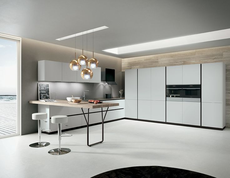 Light grey laminate doors silestone amazon volcano for Muebles de cocina italianos