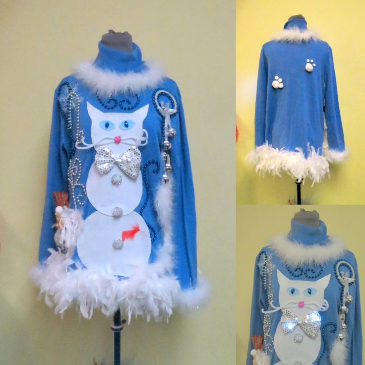 3 d kitty cat hilarious snowman cat tacky ugly christmas sweater feather foo foo trim - Light Up Christmas Tie