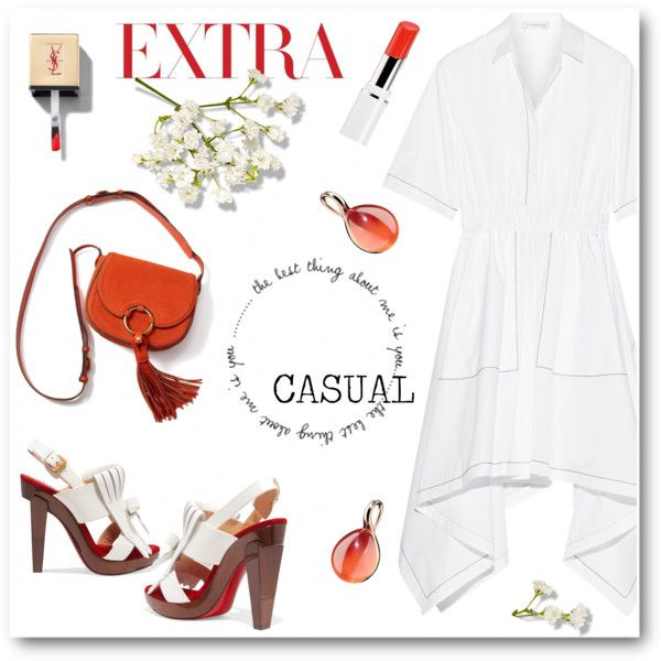 casual White by cilita-d on Polyvore featuring J.W. Anderson, Christian Louboutin, Pomellato, Lancôme and Tory Burch