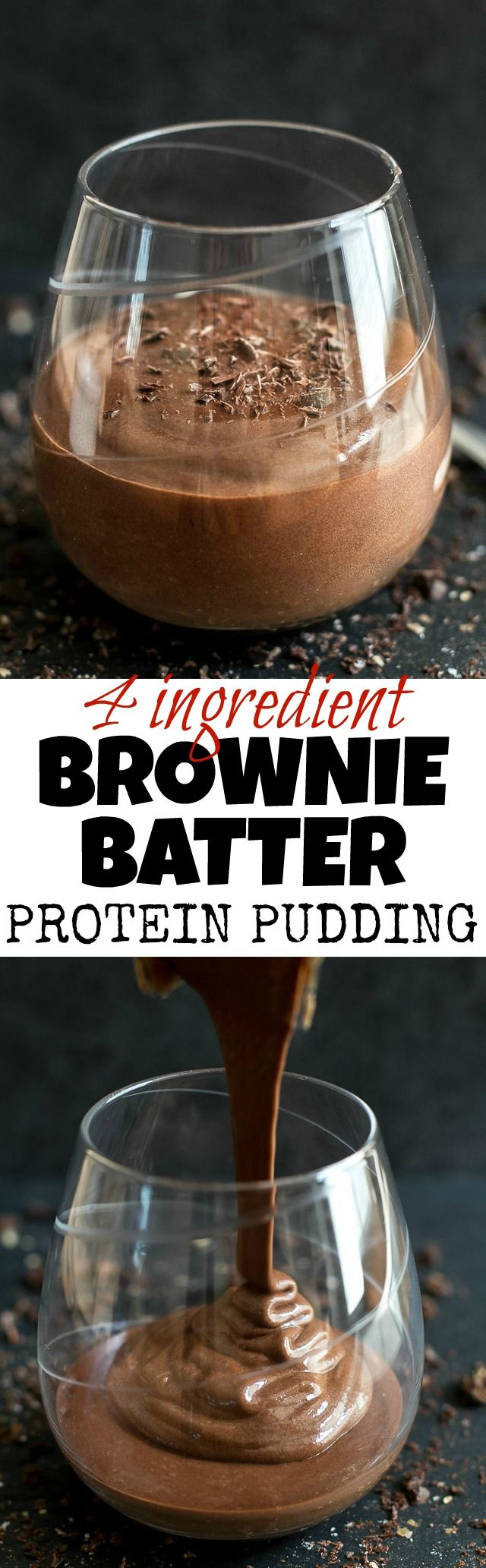 Brownie Batter Protein Pudding - high in protein and packed with a rich chocolate flavour, this addictively DELICIOUS recipe requires only 4 ingredients and 5 minutes to make! | runningwithspoons.com @PlantFusion #vegan #glutenfree #healthy