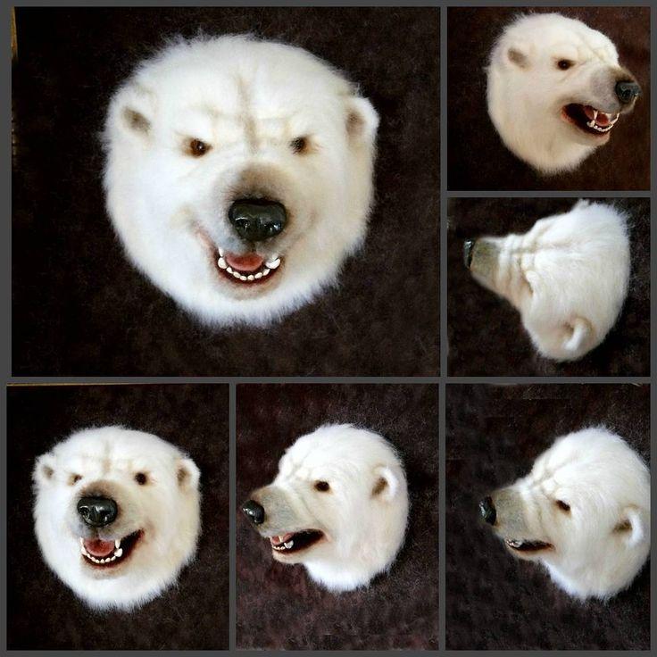 Закончила самую большую работу . Голова белого медведя. работа продается, work on sale. #polarbear #bear #needlefeltedanimal #toys_gallery _#needlefelting #felted #медведь#белыймедведь #таксидермия #ярмаркамастеров #toys_gallery #Челябинск###