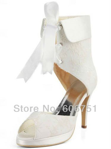 Find More Boots Information about Satin white ivory 3.5 inch high heels platform lace wedding ankle boots bridal party shoes open toe  pumps with ribbons,High Quality shoe adhesive,China satin black pumps Suppliers, Cheap pump shoes women from Joy 's Custom Wedding Shop on Aliexpress.com