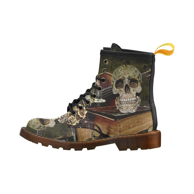 Funny Skull and Book Leather Martin Boots For Men #erikakaisersot #artsadd #boots