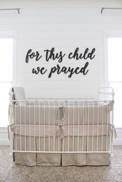 Tips for creating the perfect gender neutral nursery   For this child we prayed sign   Shiplap   nursery decor   wrought iron crib  