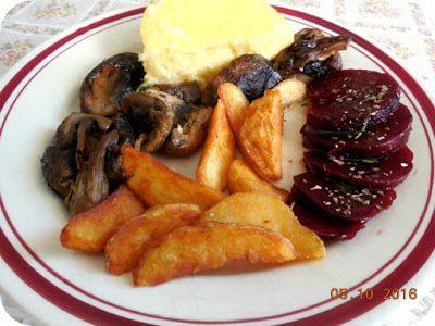 Miercurea fara carne 05 Octombrie - mamaliga, ciuperci, cartofi wedges, sfecla rosie