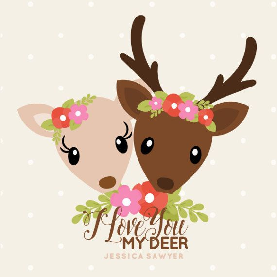 Cute Woodland Wedding Couple. I love you my deer pun.