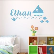 PIRATE SHIP WALL STICKERS personalised vinyl decal bedroom kids nautical ocean