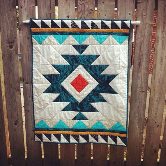 Handmade Tribal Aztec Quilt// Baby Quilt// Wallhanging// Geometric Quilt.