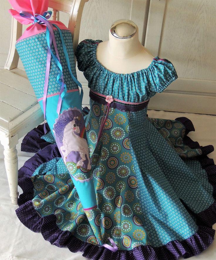 Mädchenkleid & Einschulungskleid ELODIE Grösse 122/128 und Schultüte Einhorn