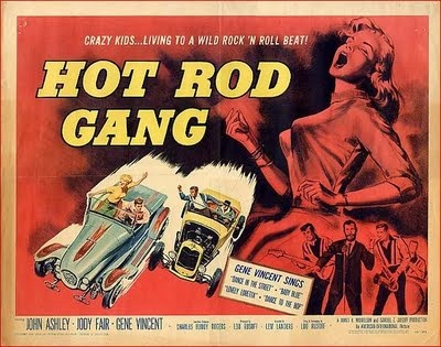 """Movie poster for the 1958 film """"Hot Rod Gang"""" starring John Ashley. Click the pic to watch the Gene Vincent and His Blue Caps sequence from the feature."""