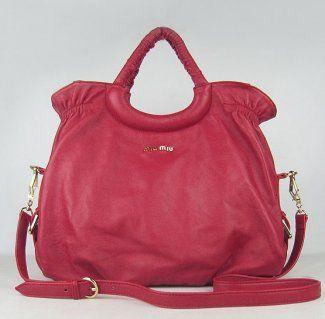 Miu Miu Handbags,Miu Miu Sheepskin Leather Handbags 1835 Red-$