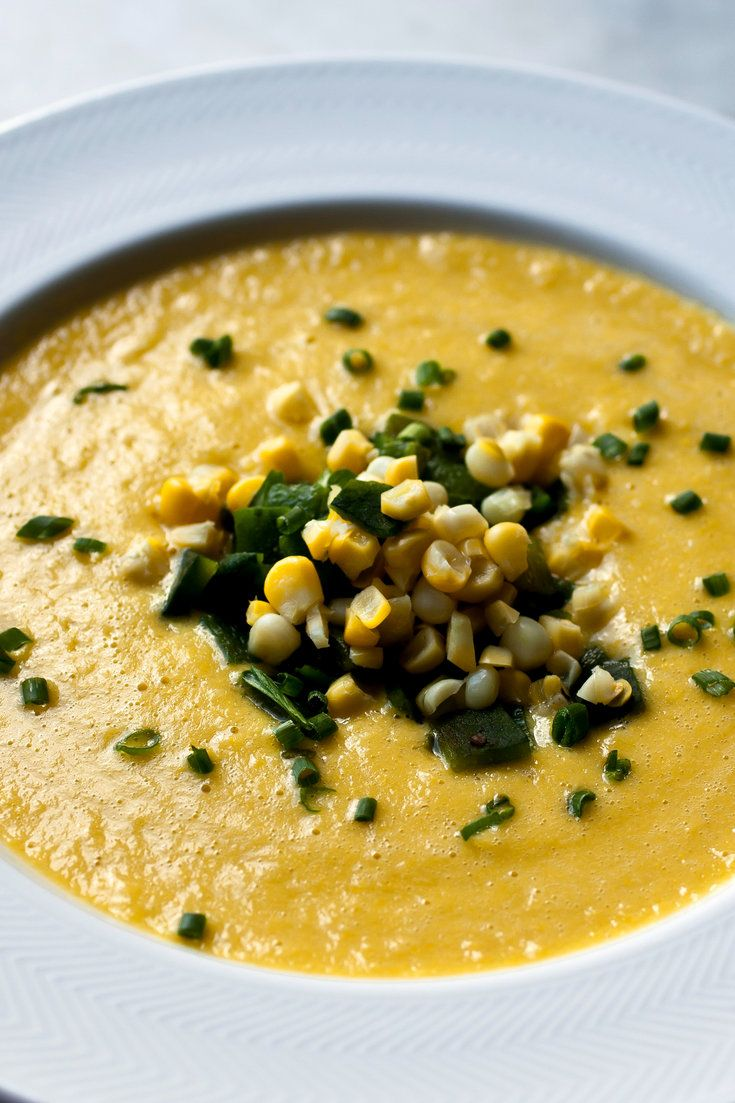 This is another creamy corn dish that has no cream in it – in fact, it has no dairy at all I simmer the corn cobs to make the stock When the corn is sweet, so is the soup, and I love the contrast of the sweet, creamy potage against the spicy roasted peppers.