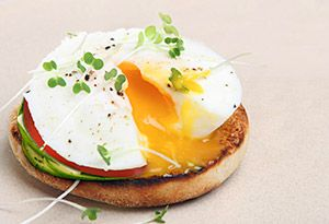 Fat burning breakfast!   1/2 toasted whoe grain english muffin  2 tsp olive oil  1/4 ripe avocado  1 slice swiss cheese  1 slice tomato  1 poached egg  Ground black pepper to taste    :)