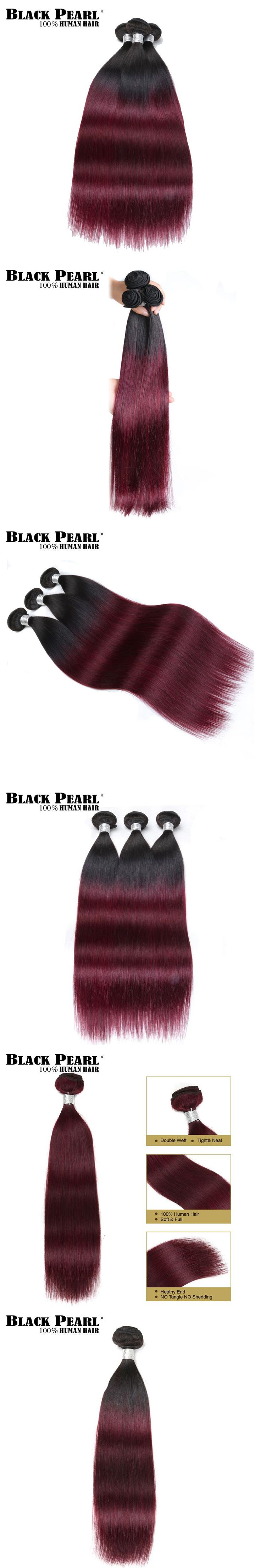 Black Pearl Pre-Colored Remy Straight Human Hair Bundles 1PC Ombre Wine Red Hair Extensions Brazlian Hair Weave Bundles T1b30
