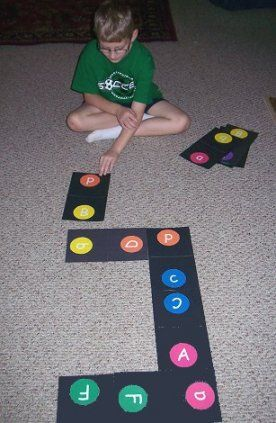 Alphabet floor dominoes -- ooooh want to make these!