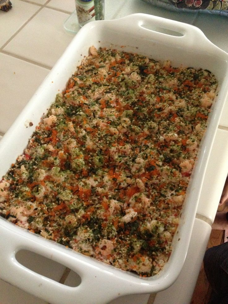How to Make Sushi Bake - Had this yesterday for 1st time. I could eat it everyday!. Son made sushi rice, not plain rice for dish. OH! that's all I'm saying!