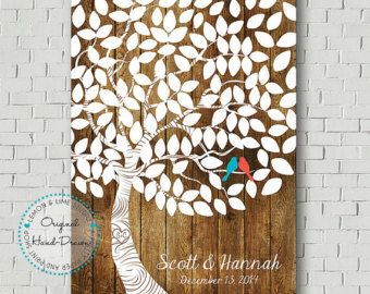 Wedding Guest Book Wedding Tree Signatures by MarshmallowInkLLC