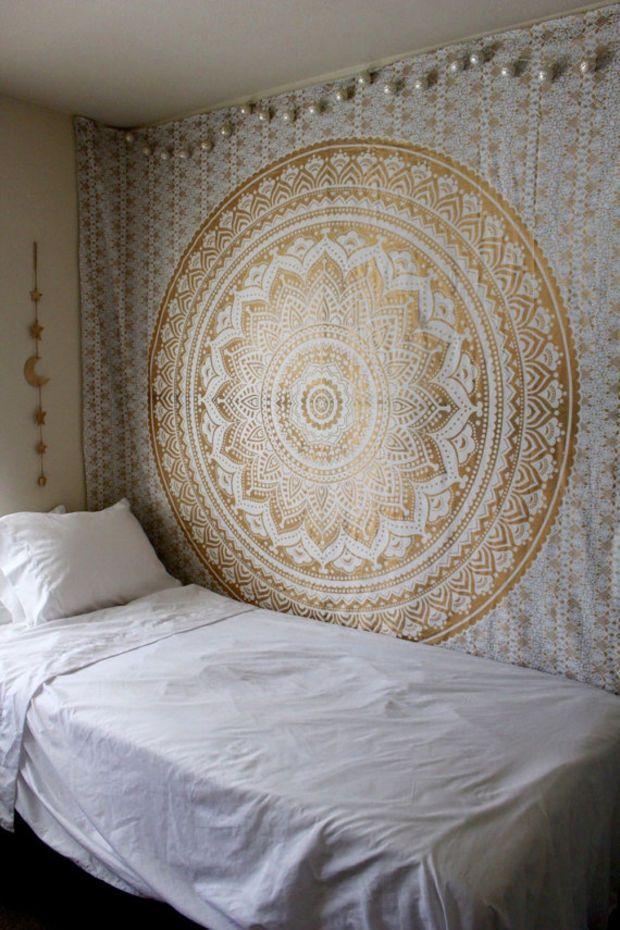 Gypsy Goddess Gold Mandala Tapestry Wall Hanging with silver