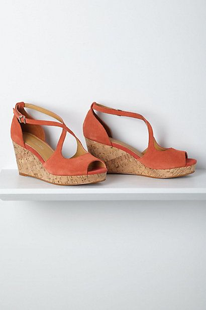 Crisscrossed Cork Wedges- Coral