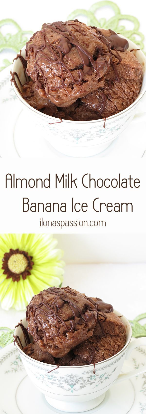 Chocolate Banana Ice Cream made with healthy ingredients like almond milk and maple syrup by http://ilonaspassion.com