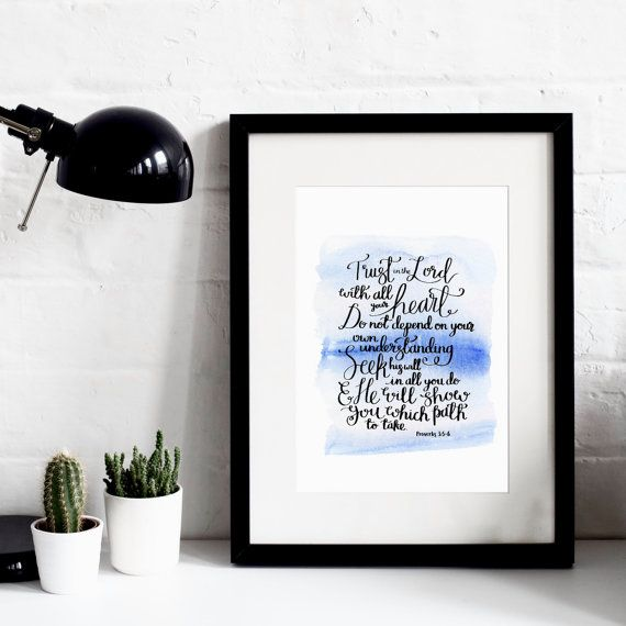 Trust In The Lord - Ink & Watercolour A4 Print - Hand-Lettered Print - Bible Verse Print - Christian Print - Christian Gifts