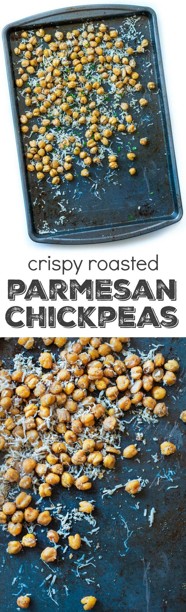 These crispy roasted parmesan chickpeas are a healthy snack loaded with protein, fiber, and a whole lot of deliciousness! Vegetarian + GF